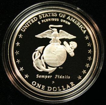 230th Anniversary Marine Marine Corps Commemorative Silver Dollar - reverse
