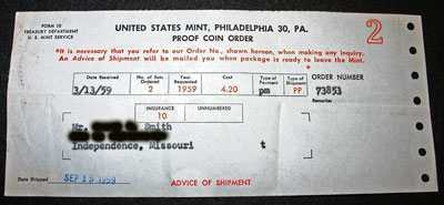 1959 Proof Set Receipt US Mint