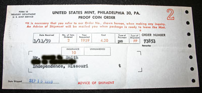 1959 Proof Set Receipt from US Mint