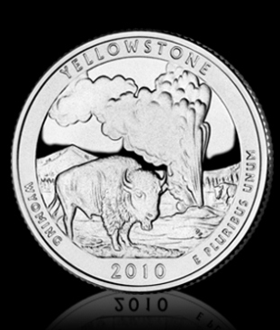 America the Beautiful Yellowstone Quarter reverse
