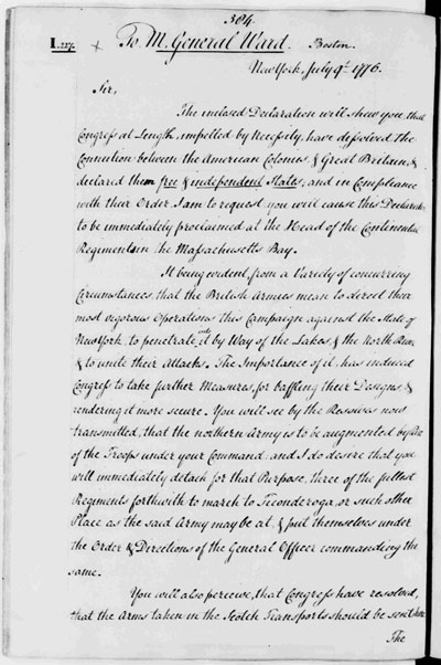 Washington Letter to Gen. Ward 7-9-1776 - page 1