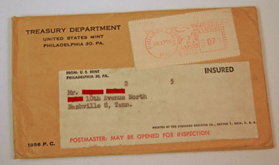 1956 Proof Set Envelope with Address and Postage