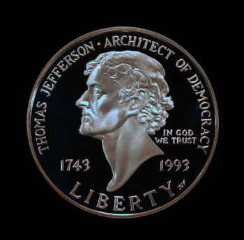 1993 Thomas Jefferson dollar obverse