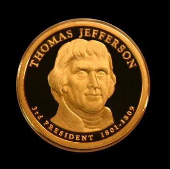 2007 Thomas Jefferson Presidential dollar obverse