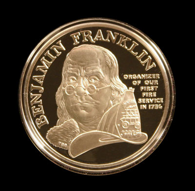 Benjamin Franklin Firefighters Proof Silver Medal obverse