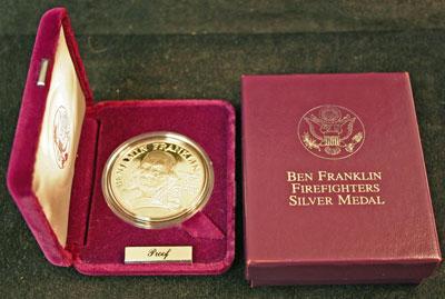 Benjamin Franklin Firefighters Proof Silver Medal packaging