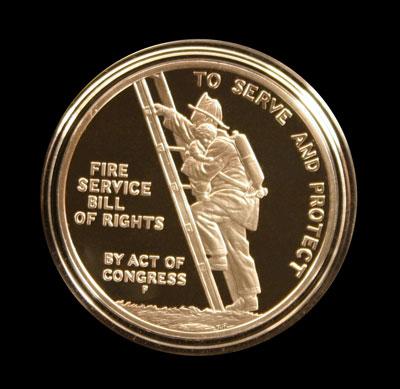 Benjamin Franklin Firefighters Proof Silver Medal reverse