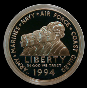 1994 Women in Military Commemorative Silver Dollar Obverse