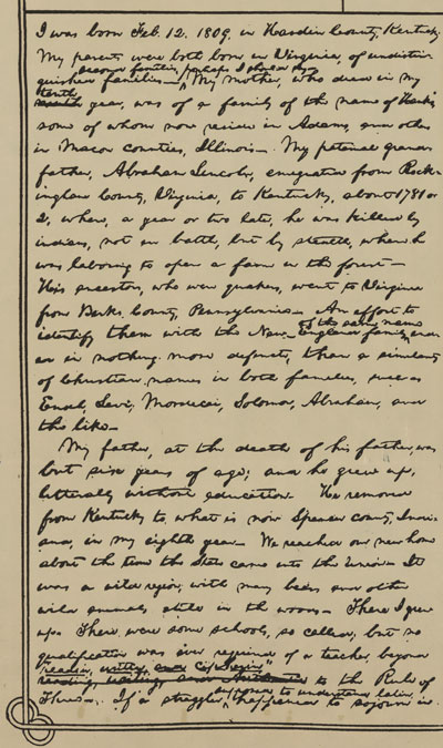 Abraham Lincoln Autobiography 1 of 3