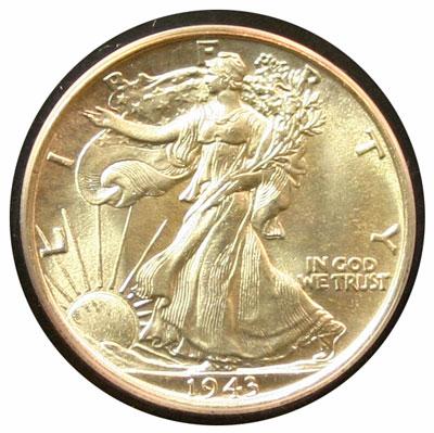 1943 Walking Liberty Half Dollar obverse MS65