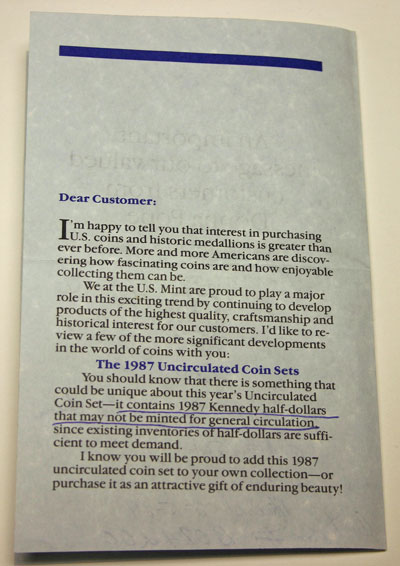 1987 Director of Mint Sales Message page 2
