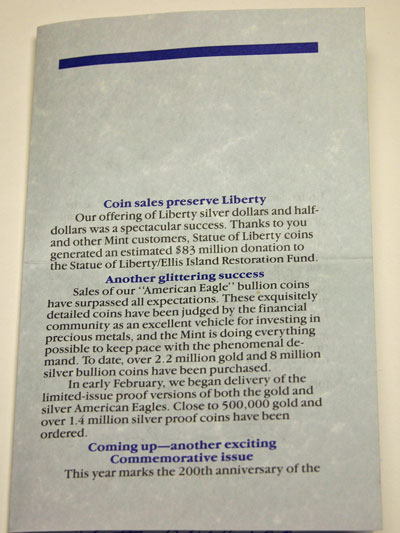 1987 Director of Mint Sales Message page 3