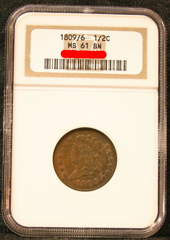 1809/6 Half Cent Obverse in holder