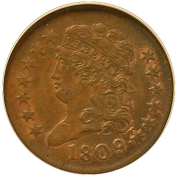 1809/6 Half Cent Obverse large view