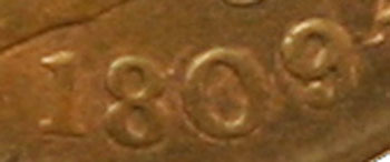 1809/6 Half Cent Obverse date view