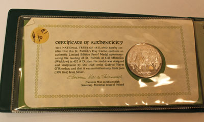 1972 St. Patrick's Day Commemorative Medal and Cachet - Certificate of Authenticity