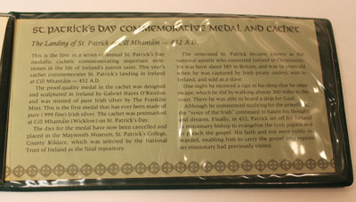 1972 St. Patrick's Day Commemorative Medal and Cachet - description
