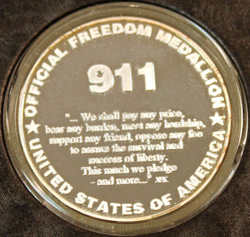 9-11-2001 Official Freedom Medallion reverse image