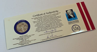 Bill of Rights ANA Freedom Pack half dollar Certificate of Authenticity