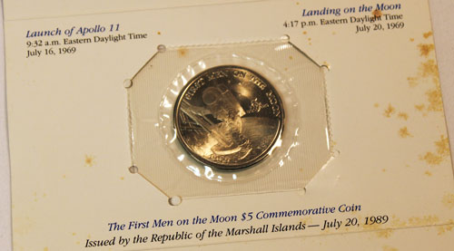 Marshall Islands First Men on the Moon $5 coin holder showing front of coin