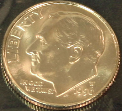 1996 Mint Set Roosevelt Dime W Mint Mark obverse