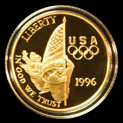 Five dollars gold coin flag bearer obverse