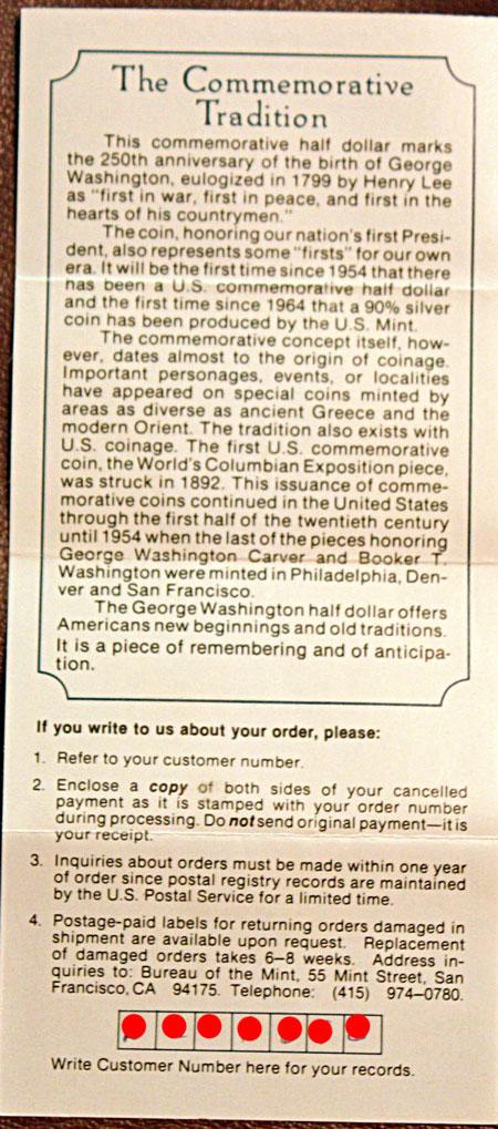George Washington Commemorative silver half dollar promotion details