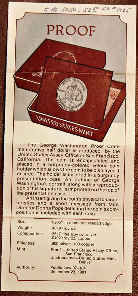 George Washington Commemorative silver half dollar promotion proof coin