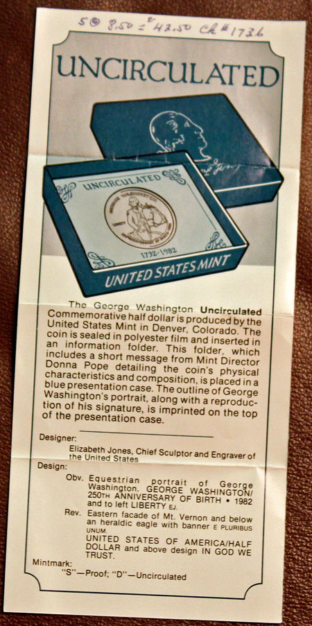 George Washington Commemorative silver half dollar promotion uncirculated coin