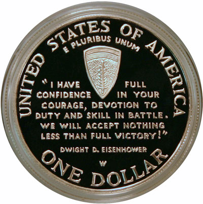 World War II Commemorative Silver Dollar reverse