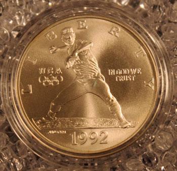 1992 Olympic Baseball Commemorative Silver Dollar obverse