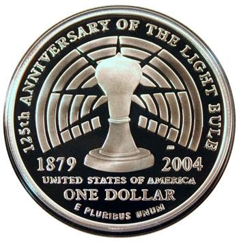 Thomas Alva Edison 2004 Commemorative Silver Dollar Reverse