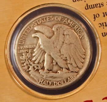 Walking Liberty 1941 half dollar coin reverse