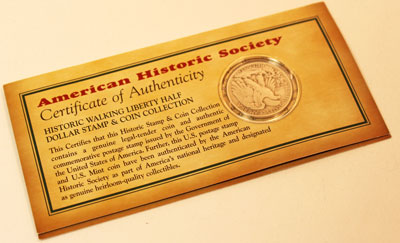 American Historic Society Stamp and Coin Collection back