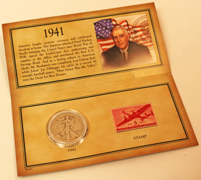 American Historic Society Stamp and Coin Collection inside