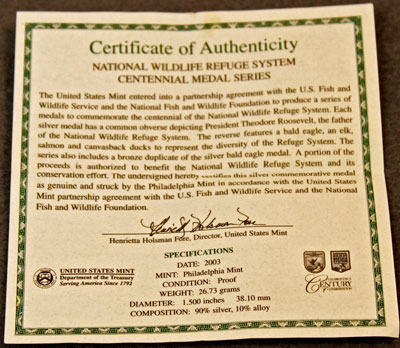 National Wildlife Refuge Centennial Medal 2003 Eagle Certificate of Authenticity
