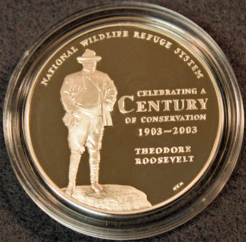 National Wildlife Refuge Centennial Medal 2003 Teddy Roosevelt obverse