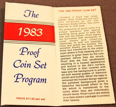 1983 Proof Coins Set Brochure description