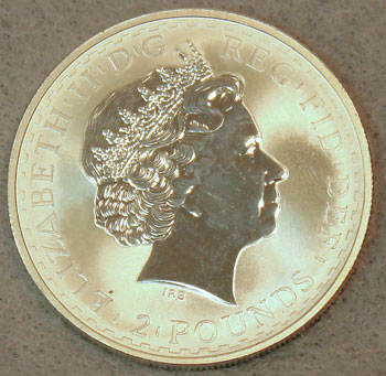 Britannia Silver 2 Pound 2004 Coin obverse