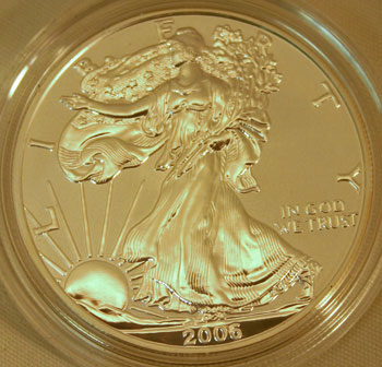 Silver American Eagle Dollar Coin Reverse Proof Finish 2006 obverse