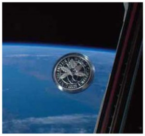 United Future World Coin obverse image in the International Space Station