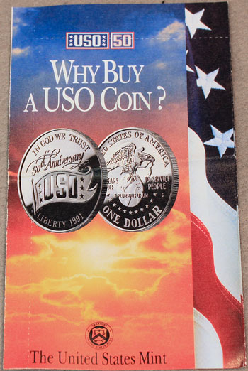 USO Commemorative Silver Dollar Brochure front