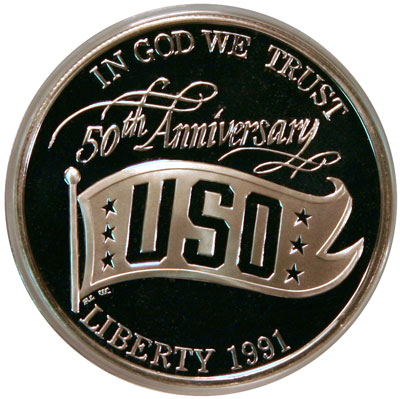 USO Commemorative Silver Dollar obverse