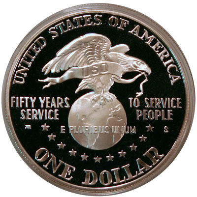 USO Commemorative Silver Dollar reverse