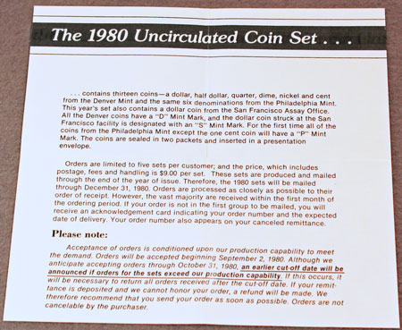 1980 Mint Set Brochure inside
