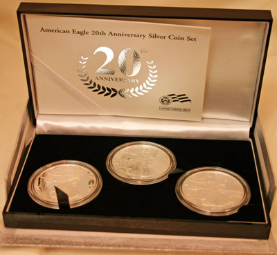 2006 American Eagle Silver Coins 20th Anniversary Collection inner box opened