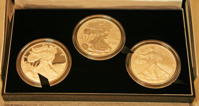 2006 American Eagle Silver Coins 20th Anniversary Collection three coins obverse view