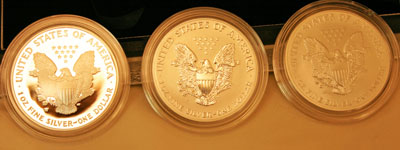 2006 American Eagle Silver Coins 20th Anniversary Collection three coins reverse view