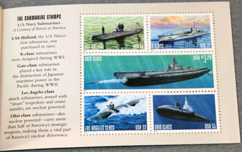 US Postal Service Submarine Stamp Book Second Stamps