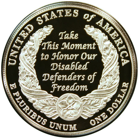 Disabled Veterans Commemorative Silver Dollar reverse